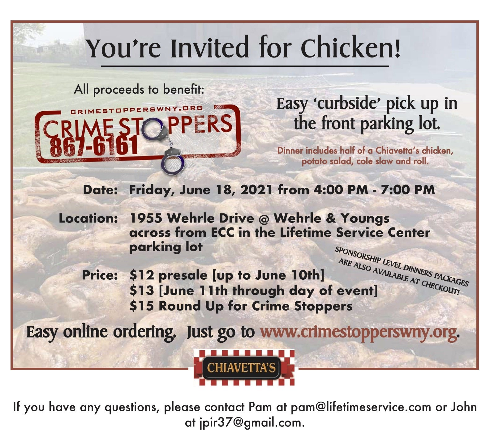Crime Stoppers WNY Chiavetta's Chicken Dinner Fundraiser 2021 Flier